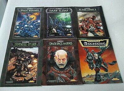 6 Older Warhammer 40k Codex Army Books: Imperial Guard, Chaos Space Marines etc.