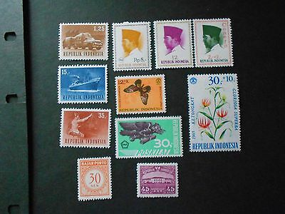 INDONESIA 11 Various Mint Never Hinged Stamps