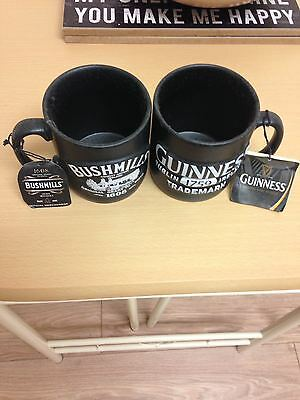 guinness and bushmills mugs with tags