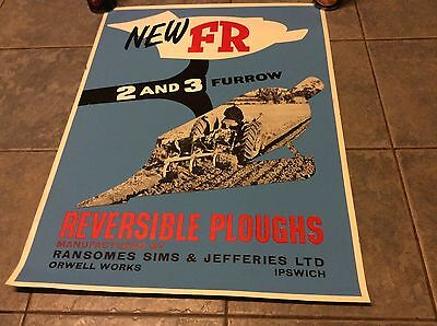 Ford Ransomes Original Vintage Classic Tractor Reversible Plough Colour Poster