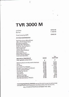 TVR 3000 M Price List - dated October 1975 - mint condition