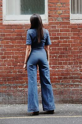70s vintage 'Spinney' denim cotton bell bottoms flares jumpsuit Glam Hippy Psych