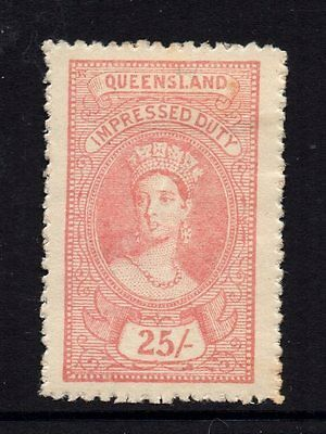 Queensland  Revenue 1895 Q.Victoria Impressed  Duty   25/- Shilling  CTO Mint/H