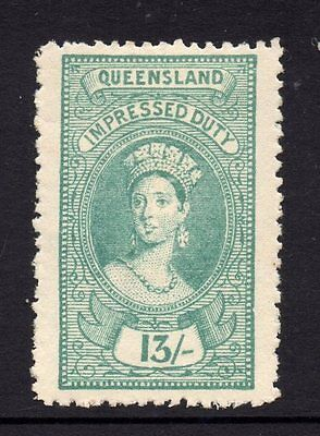 Queensland  Revenue 1895 Q.Victoria Impressed  Duty   13/- Shilling  CTO Mint/H