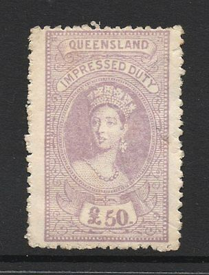 Queensland  Revenue 1895 Q.Victoria Impressed  Duty   £50 Pound  CTO Mint/ng