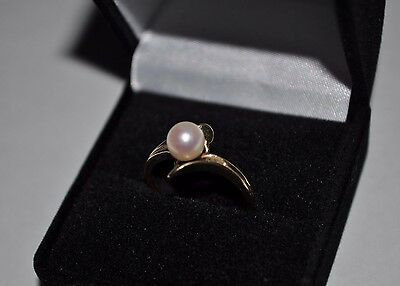 Estate Vintage 14K Solid Yellow Gold 5mm Cultured Pearl Ring Sz 6.75 - 2.1 Grams