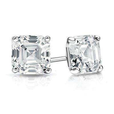3 Ct. Asscher Cut Earrings Studs Real Solid 14K White Gold Martini Screw Back