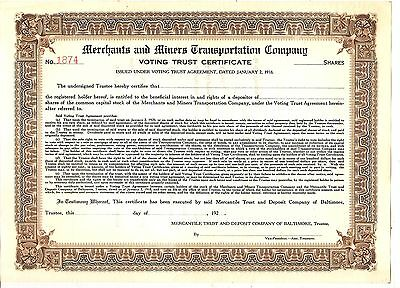 BLANKsh 1920's OLD UNISSUED/UNCANCELED STOCK CERTIFICATE MERCHANTS & MARINE TRAN