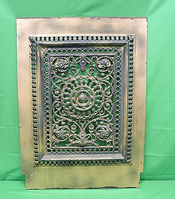 Fabulous Antique Cast Iron Ornate Fireplace Cover Roses Flowers Floral 19.5 X 27