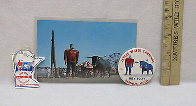 Paul Bunyan Babe Blue Ox Souvenirs Postcard Keychain Water Carnival Button Lot 3