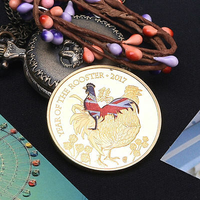 """Lunar Year of the Rooster"" Gold Color Commemorative Coins Craft Portrait Gift"