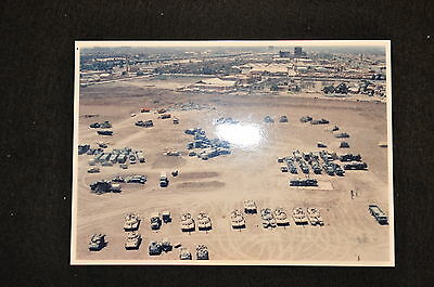EARLY OPERATION IRAQI FREEDOM 1st ARMORED DIVISION PHOTO - VEHICLES IN MOTORPOOL