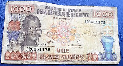 1985 Bank of Guinea 1000 Francs P# 32 Girl Issue Circulated  # MP 5