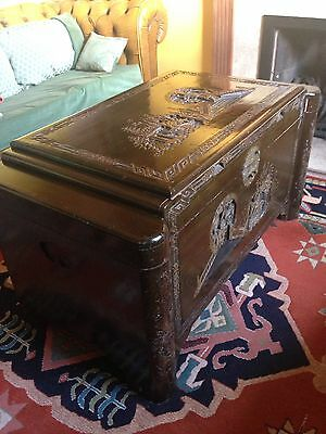Large Antique Carved Chinese Trunk Chest Coffee Table With Shelf, Camphor
