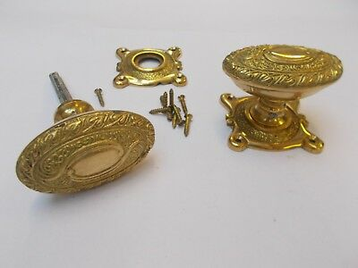 Solid Brass Ornate Decorative Vintage Old Style Rim Mortise Door Knobs Handles