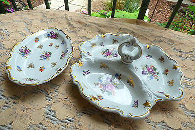2 Reichenbach Meissen Rose 3 Section relish serving Handled Tray & long dish
