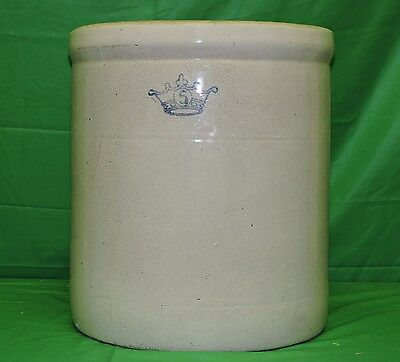 Antique Robinson Ransbottom 5 Gallon Blue Crown Stoneware Crock Pottery