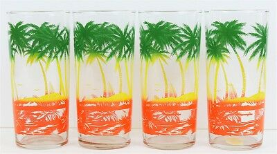 """Set of (4) Palm Tree Vintage Highball Glasses"""