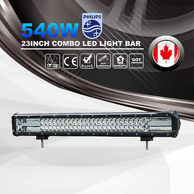 23Inch 540W PHILIP Combo LED Light Bar Spot Flood Offroad 4WD Driving Lamp