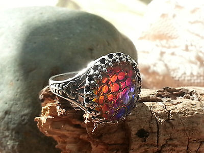 Dragon's Scales Ring SS finish cast adjustable medieval Free Shipping US