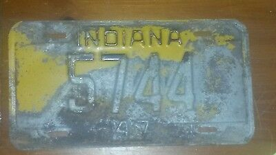 1947 INDIANA 5744 LICENSE PLATE tag