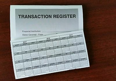 5 - High Quality Transaction Registers 2017-19 Checkbook Checking Account Bank
