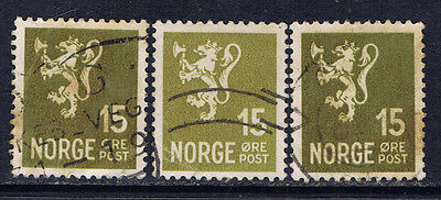 Norway #195(1) 1940 15 ore olive bistre POSTHORN 3 Used