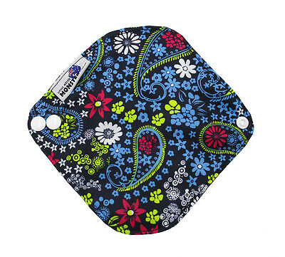 Cloth Menstrual Pads Bamboo Charcol Reusable Sanitary Liner Blue Flowers Light