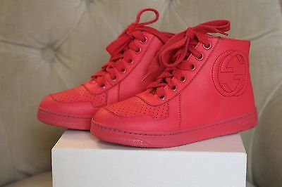 GUCCI Children`s Bright Pink Leather High Top Sneakers Shoes Size 27