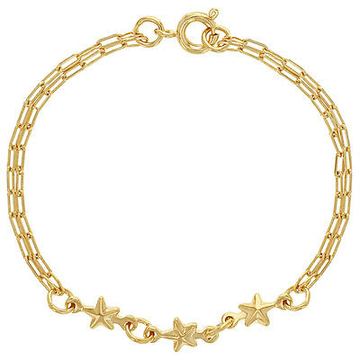 18k Gold Plated Link Double Chain Thin Star Baby Bracelet Infants 5""