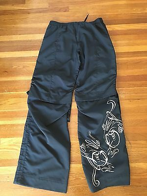 WOMEN'S NIKE Black EXERCISE PANTS ADJUSTABLE SIDES ZIP POCKETS S Small