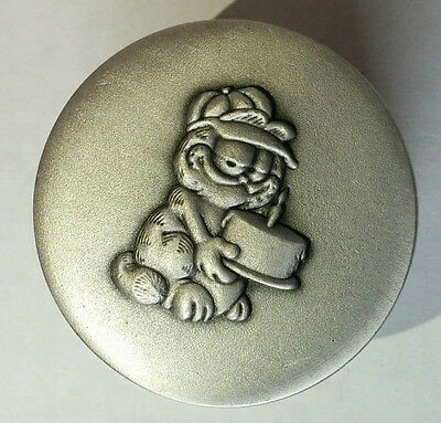 Garfield Pewter Trinket Pot Selangor 1978 Happy Birthday Hugs Cake Jar Tin