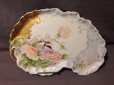 """Guerin Limoges 13"""" Open Handle Dresser Tray Roses and Gold Beaded Enamel Details"""