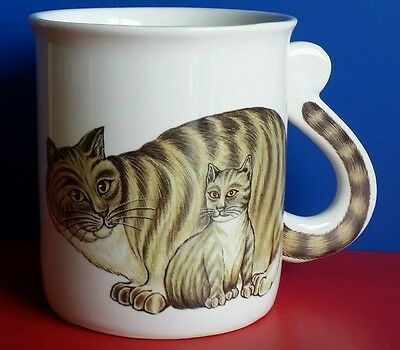Vintage*j.s.n.y.*tubby Kitty Cat*tail-Hadnle*ceramic*tea/coffee*cup/mug