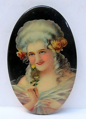 circa 1910 attractive NEO-CLASSICAL style PRETTY LADY celluloid pocket mirror *