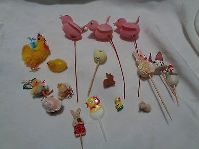 vintage lot of 18 Easter decorations- ducks chicks bunnies various materials