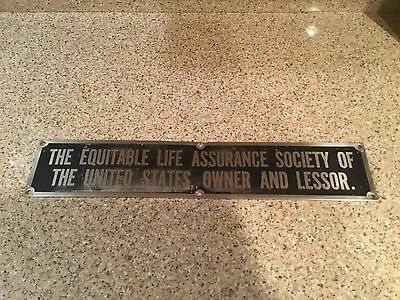 Real Railraod  Metal Equitable Life Assurance Society Of The United States Sign