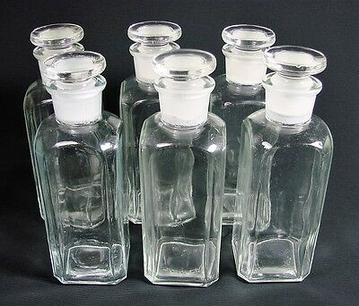 6 Antique TC WHEATON GLASS Co. USA Apothecary Bottles & Glass Stoppers
