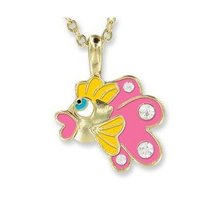 Pink Fish Pendant Necklace In Velour Gift Box Girl Birthday Valentine'S