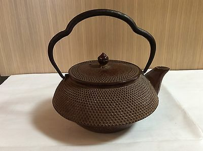 Vintage Japanese Cast Iron Teapot with Maker's Mark, Rust Finish