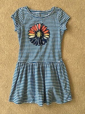 Children's Place Girls Blue & White Striped Short Sleeve Flower Dress Size S 5-6