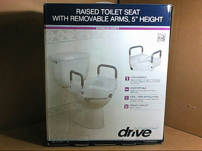 NEW Drive Elevated Raised Toilet Seat with Removable Padded Arms $96