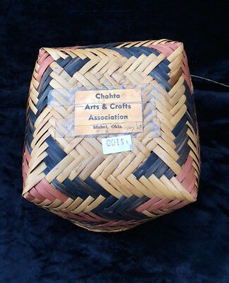 Fine Old Choctaw River Cane Basket Round Top Square Bottom Natural Dyes 1969