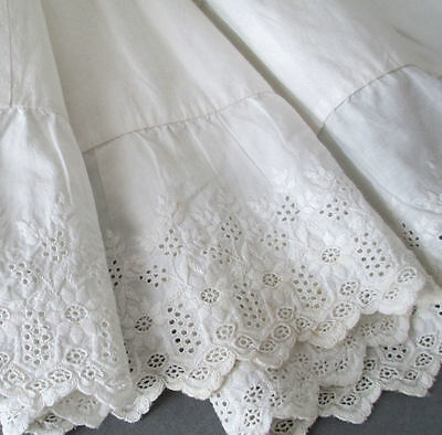Antique VICTORIAN HM Child's PETTICOAT Broderie Anglaise Embroidery + PINTUCKS