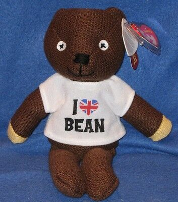 TY MR. BEAN BEANIE BABY wearing I LOVE BEAN T-SHIRT - UK EXCLUSIVE - MINT TAGS