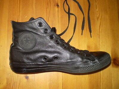 Converse All Star Leather Black Shoes Ladies Size Us 9 Fair/good Condition