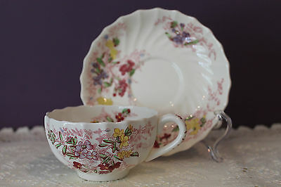Copeland Spode Fairy Dell Teacup And Saucer Floral Swirled