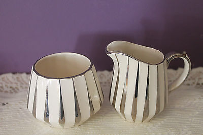 Sadler England Ceramic Art Deco Ivory And Silver Cream And Sugar #3002