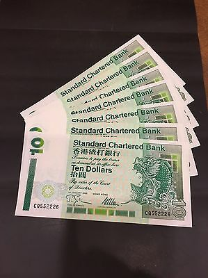 Hong Kong 10 X 10 Dollar Note 1993 total HK$ 100 Sequential SR # UNC