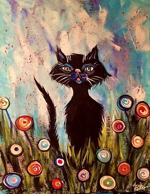 BLACK CAT in FLOWERS PAINTING original abstract impressionist art 16x20